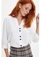 DeFacto Uzun Kollu Dokuma Gömlek Beyaz